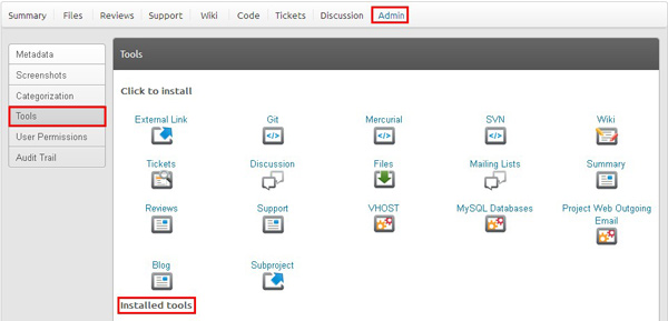 SourceForge 删除 Tools
